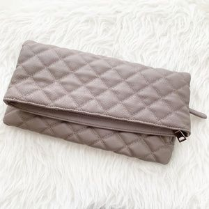 NWT Urban Expressions Gray Quilt Foldover Clutch